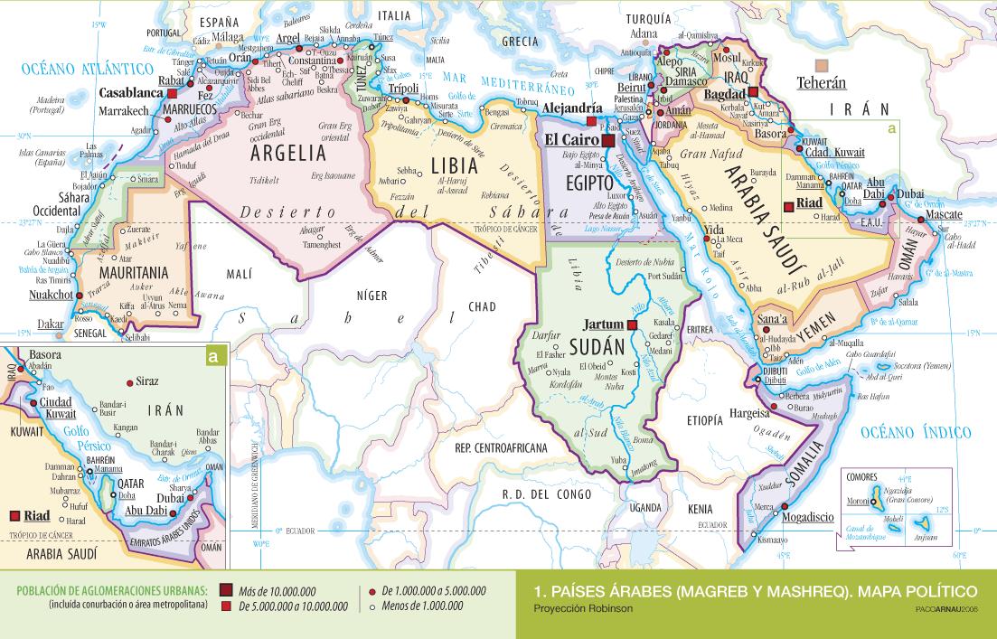 Cartografía: Mapa político de los países árabes | ciudad futura